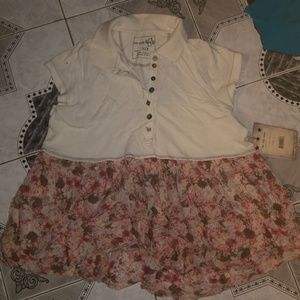 Free People Floral Polo Style Shirt NEW S
